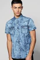 Boohoo Printed Short Sleeve Denim Shirt