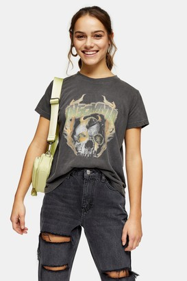 Topshop Womens Petite Insomnia T-Shirt In Washed Black - Washed Black