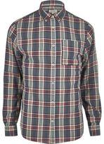 River Island MensBlue check Oxford shirt