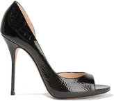 Casadei Glossed croc-effect leather pumps