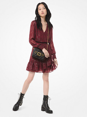 Michael Kors Plaid Ruffled Jacquard Mini Dress