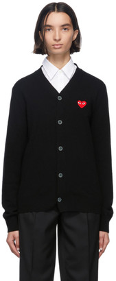 Comme des Garcons Black and Red Wool Mens Fit Heart Patch V-Neck Cardigan