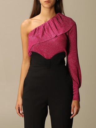 RED Valentino Sweater One-shoulder Top In Lurex Viscose