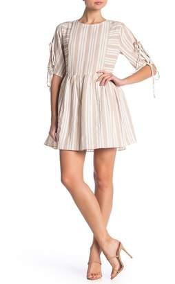 ENGLISH FACTORY Tie Sleeve Mixed Stripe Dress