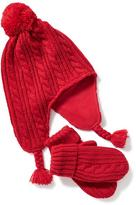 Old Navy Pom-Pom Trapper Beanie And Mittens Set For Toddler