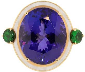 Selim Mouzannar 18kt Rose Gold, White Enamel, Tanzanite And Tsavorite Ring