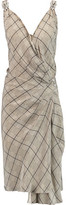 Temperley London Faye Embellished Checked Silk Crepe De Chine Wrap Dress