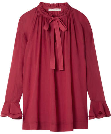 See by Chloe Oversized Ruffled Cotton And Silk-blend Crepon Blouse - Bubblegum