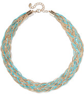 Kenneth Jay Lane Gold-tone and cord necklace
