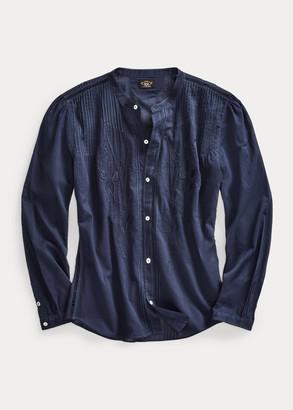 Ralph Lauren Embroidered Indigo Cotton Voile Blouse