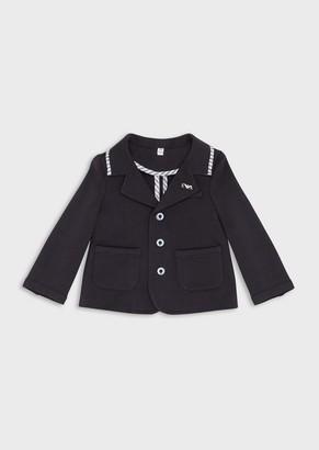 Emporio Armani Single-Breasted Jacket In Stretch Jersey Fleece