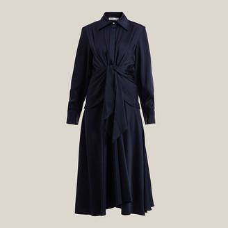 Victoria Beckham Blue Tie-Waist Button-Down Silk Dress UK 10