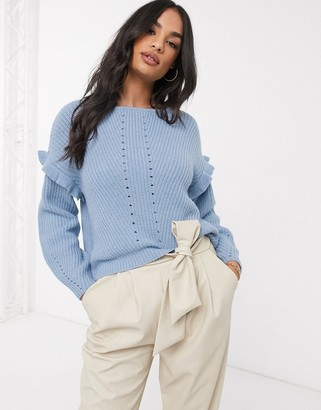 Vila stitch detail jumper with ruffle detail in blue