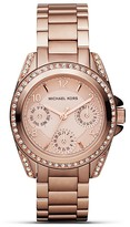 Michael Kors Round Rose Gold–Tone Glitz Sport Watch, 33mm