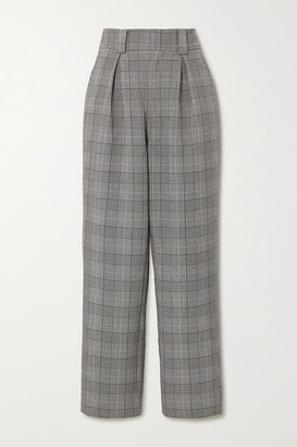 Ganni Prince Of Wales Checked Woven Wide-leg Pants - Light gray