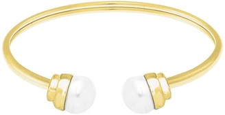 Savvy Cie Cultured Freshwater 10mm Pearl Open Bangle Bracelet