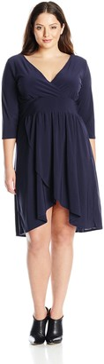 Star Vixen Women's Plus-Size Elbow Sleeve Surplice with Tulip Skirt