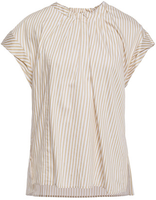 3.1 Phillip Lim Pleated Striped Cotton-blend Twill Top