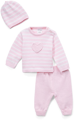 Baby Mode Signature Girls' Casual Pants PINK - Pink Stripe Heart Sweater Set - Newborn & Infant
