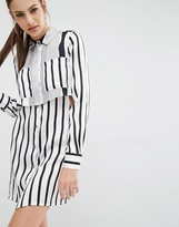 KENDALL + KYLIE Peek-a-boo Silk Shirt Dress