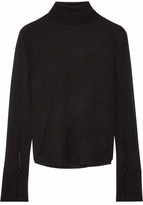 Chloé Wool, Silk And Cashmere-blend Turtleneck Sweater - Black