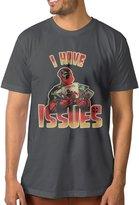 HFJNLMHHHE Men's Deadpool I Have Issues Logo Poster Short Sleeves T-shirt DeepHeather