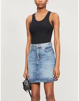 The Kooples Chain-embellished denim mini skirt