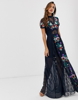 Frock and Frill embroidered short sleeve maxi-Black