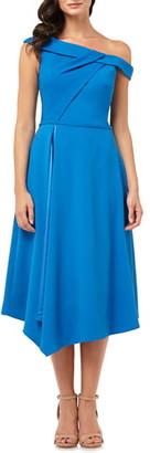 Carmen Marc Valvo One-Shoulder Crepe Dress