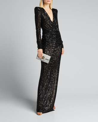 Naeem Khan Sequined Deep-V Column Gown