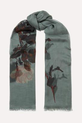 Dries Van Noten Faedra Floral-print Silk And Modal-blend Gauze Scarf - Gray