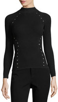 Thierry Mugler Star-Stud Mock-Neck Sweater