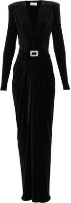 Alexandre Vauthier Plunge Neck Buckled Velvet Wrap Dress - Womens - Black