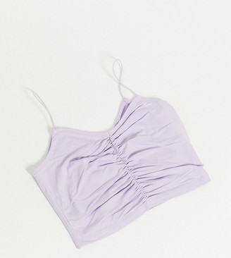 ASOS DESIGN Petite crop cami with ruched front and skinny straps in lilac