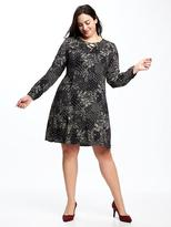 Old Navy Printed Plus-Size Lace-Up Swing Dress