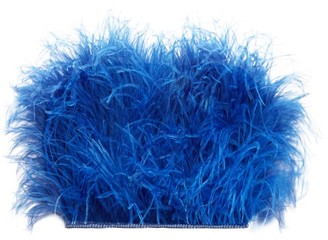 ATTICO The Faux Pearl-trimmed Ostrich Feather Top - Womens - Blue