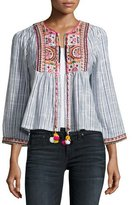 Velvet Mckay Embroidered Striped Open-Front Jacket, Blue