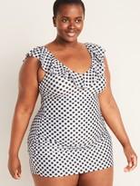 Old Navy Gingham Ruffled V-Neck Secret-Slim Plus-Size Swim Dress
