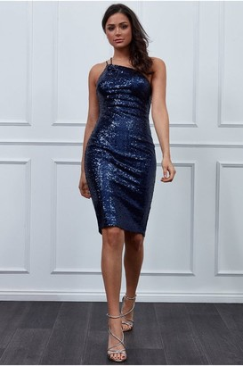 Goddiva Vicky Pattison a One Shoulder Sequin Midi Dress