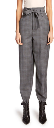 Etoile Isabel Marant Vittoria High-Rise Check Wool Pants