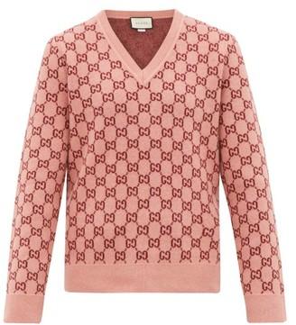 Gucci Gg Monogram Felted-wool Blend V-neck Sweater - Mens - Pink