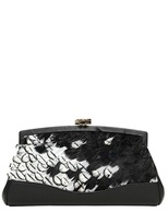 Feathers Nappa Leather Clutch