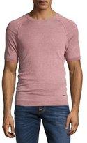 HUGO BOSS Short-Sleeve Linen Sweater, Pink