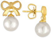 Majorica Gold-Tone Imitation Pearl Bow Drop Earrings