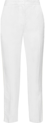 Les Héroïnes The Bentley Cropped Grosgrain-trimmed Shantung Slim-leg Pants