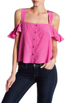 Nicole Miller Solid Cold Shoulder Ruffle Silk Blouse
