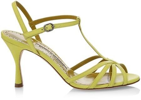 Manolo Blahnik Marana Leather Slingback Sandals