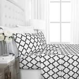 Egyptian Luxury 1600 Series Hotel Collection Quatrefoil Pattern Bed Sheet Set - Deep Pockets, Wrinkle and Fade Resistant, Hypoallergenic Sheet and Pillowcase Set - King - White
