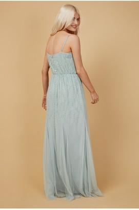 Little Mistress Bridesmaid Aida Mint Floral Embellished Maxi Dress