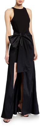 LIKELY Mena Side-Drape Halter Gown Over Short Skirt